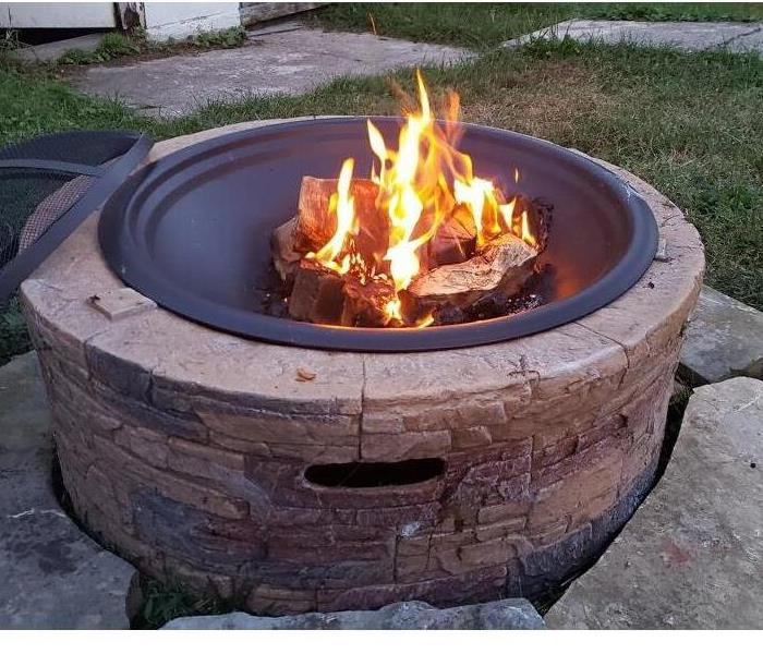 Fire pit with fire